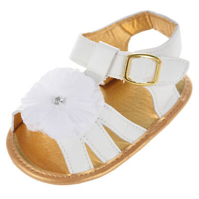 New Baby Girl Floral Summer Sandals Crib Soft Sole Non-slip Princess Shoes R5J3
