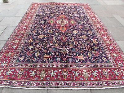 Old Hand Made Traditional Persian Oriental Wool Blue Large Carpet 385x246cm