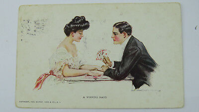 1911 Vintage Postcard Howard Chandler Christy Beauty Playing Cards Game Romance