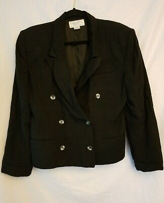 Women's Vintage Christian Dior Separates Double Breasted Black Blazer Size 12