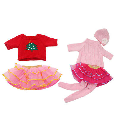 6pcs Sweater Top Hat Lace Skirt Tights for 18'' American Girl Doll Clothes