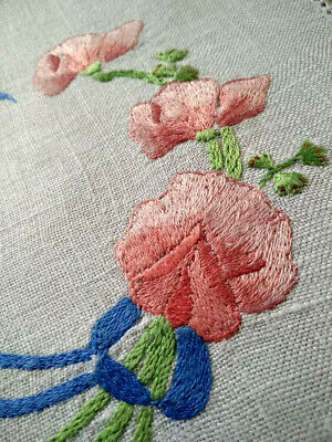 Sweetpeas/ Maidenhair Fern & Bows ~ Vintage Hand Embroidered Doily - 2 available