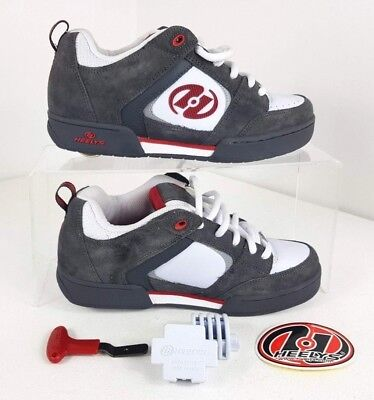 HEELYS - Boys / Mens Size 7 (UK) Red/White/Grey Trainers Skate Shoe Wheels 9164