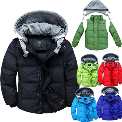 Kids Boys Girls Detach Hooded Warm Puffer Down Jacket Padded Coat Parka Outwear