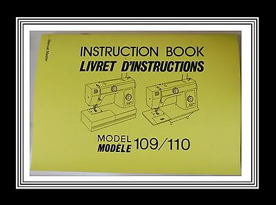 JANOME NEW HOME Models 109 & 110 sewing machine instructions Manual Booklet