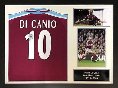 Framed Paolo Di Canio Signed West Ham United 10 Football Shirt See Proof Coa