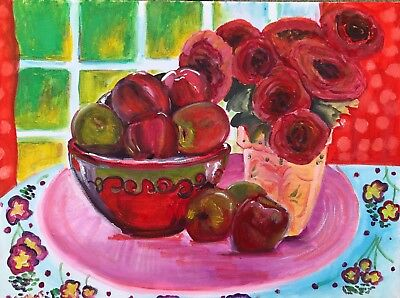 ORIGINAL VASE of flowers & fruit 2 Watercolour on canvas inspired by MATISSE