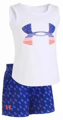 Nwt Under Armour Girls Two Piece Set Size 24 Months ~ Shorts & Tank Msrp $32
