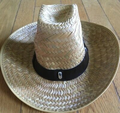 026faf0ccb2380 New Straw Cowboy Hat Adult Faux Leather Strap Cowgirl Halloween Costume