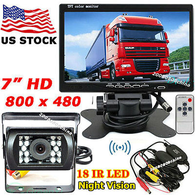 """Vehicle IR Backup Rear View Camera +Wireless 7"""" LCD Monitor for RV Truck Trailer"""