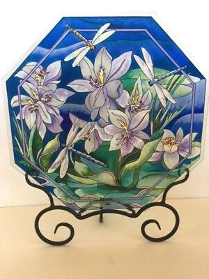 Blue Hand Painted Glass Panel AMIA Lotus Hyacinth Flower and Dragonflies