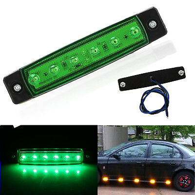 Universal Green 6 LED Side Marker Indicators Light Amber Lamp Car Truck Trailer