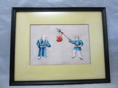 Vintage 1940's hand painted on silk Chinese painting. Fire basket on spear