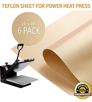 "6 Pack Teflon Sheet for Heat Press Transfer Non Stick 16"" x 24"" Craft Mat"