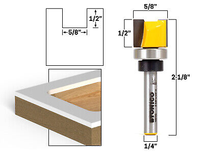 "5/8"" Flush Trim Template Router Bit - 1/4"" Shank - Yonico 14072q"