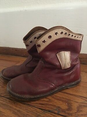 Cowboy boots vintage 50s 60s Red with white Trim Toddler Size 9 Size 10