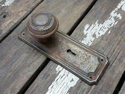 VTG Antique Old SHABBY Rustic FANCY Door Knob & Metal Ridged Backplate Plate