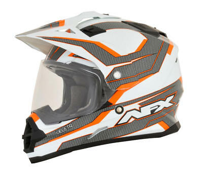 Afx Helm Fx-39 Veleta Dual Sport Helmet Medium Orange/white/gray Medium