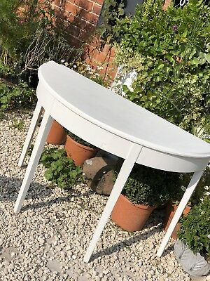 Georgian White Painted Demi Lune Half Moon Table Shabby Chic