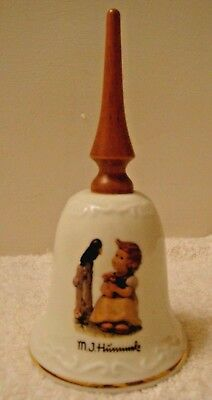"""M.J. Hummel Porcelain bell """"Sing With Me"""" Wooden Handle made in Switzerland"""