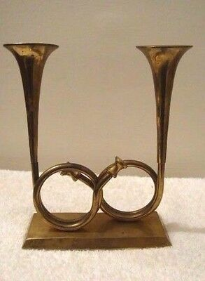 Vintage Solid Brass Double French Horn Candlestick Holder Musical Instrument