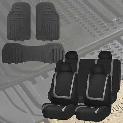 Flat Cloth Seat Covers Gray & Black with Classic Rubber Trimmable Floor Mats