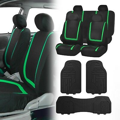 Flat Cloth Seat Covers Green & Black with Classic Rubber Trimmable Floor Mats