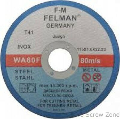 """Stainless Steel Cutting discs 115mm x 1.mm Ultra Thin 4 1/2"""" Angle Grinder Metal"""