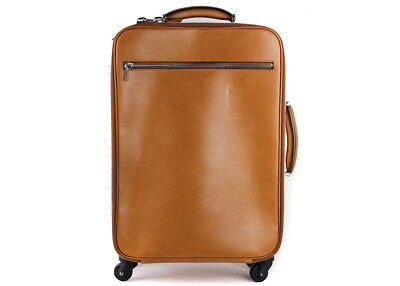 Brunello Cucinelli Cognac Brown Grained Leather Trolley Suitcase Bag~RTL$4000