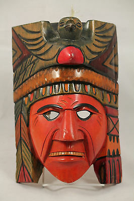Mexican Wood Hanging Mask Folk Art Hand Crafted/Painted Collectible Decorative