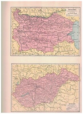 1940 Map Of Bulgaria and Hungary - Map of Rumania and Yugoslavia On Reverse