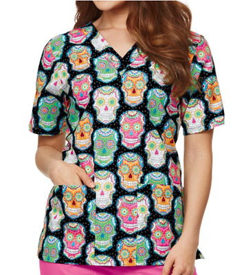 "{2XL} Tafford Women's Medical Uniform ""Day Of The Dead"" 2 Pocket Scrub Top"