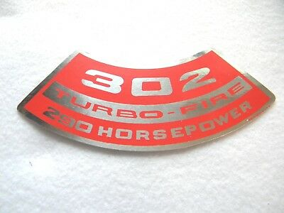 CHEVROLET 302 TURBO-FIRE TURBOFIRE 290HP AIR CLEANER TOP LID DECAL NEW CAMARO