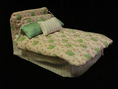 Vintage 1984 Dollhouse Miniature HANDMADE Bed Signed SHEP STADTMAN COLLECTIBLE