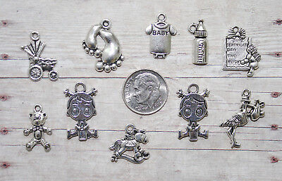 10pc Twin Baby Girls Themed Charm Set Lot Collection /Jewelry,Crafts/Twins,Stork