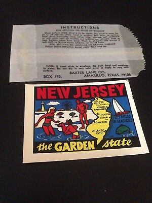 Vintage New Jersey Travel Decal Authentic Souvenir RV Luggage Camper