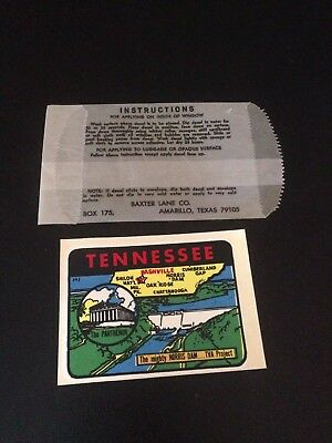 Vintage Tennessee Travel Decal Authentic Souvenir RV Luggage Camper
