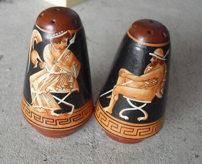 Vintage Handmade Painted Greek Salt and Pepper Shakers