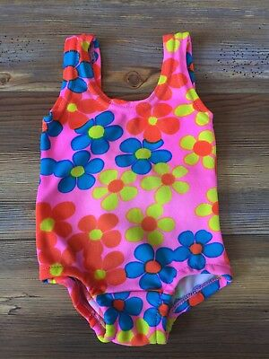 Vintage 70s Baby Girl Swimsuit Pink Flower Power Hippy Mod May Maid Swim Bathing