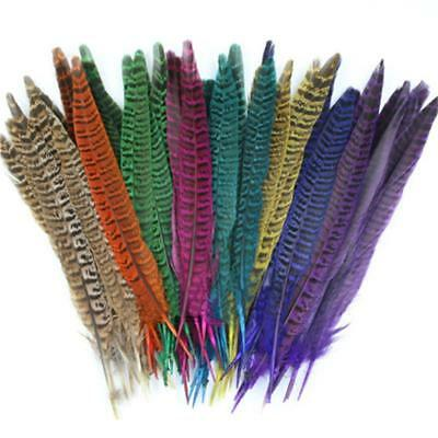 9colors 10pcs/pack Natural Pheasant Feather Fly Tying Materials 19-25cm