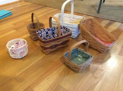 Lot Of 6 Longaberger Baskets Signed & Dated 1994- 2006