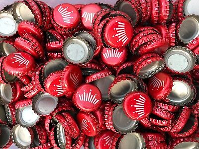 100 ((Red Budweiser Crown)) beer bottle Caps NO DENTS. Free Shipping.