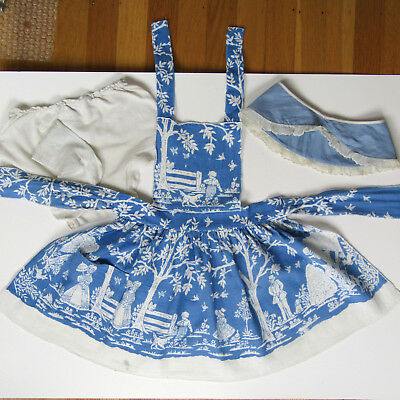 Antique 40s 50s Child's Blue APRON CLOTHING LOT Vintage Baby Clothes 1950s 1950s