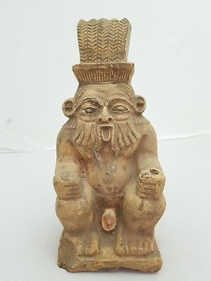 Ancient Egyptian Antique God BES Large Statue Carved Stone Circa 664-332 BC