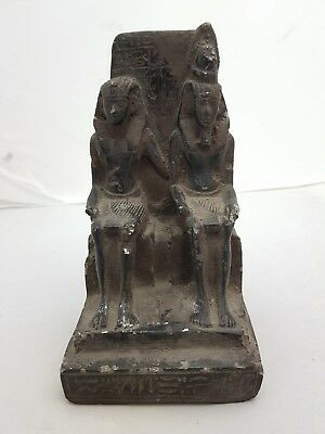 Ancient Egyptian Antique Statue Ramses Ii With Queen Nefertari 1279-1213 Bc