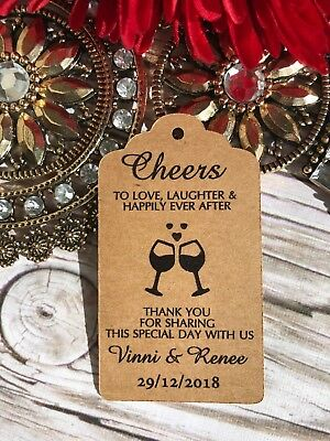 10 Kraft White Gift Tags Wedding Favour Bomboniere Personalised Cheers Bitches