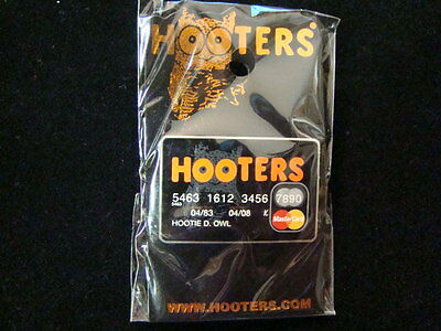 Hooters Girl Hootie Owl Uniform 1st Promo Master Credit Card Pin Name Tag