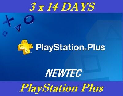 42 days ps + (3 x 14) ps4 playstation plus for [region free]