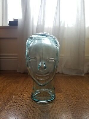 New CLEAR Green Tint GLASS MANNEQUIN HEAD WIG Headphone Sunglass DISPLAY HAT