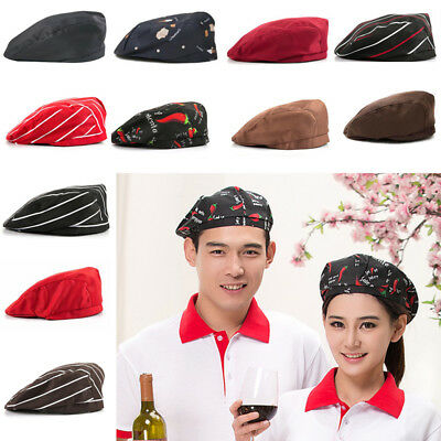 1pc Men Women Kitchen Chef Cap Catering Service Waiter Cooking Beret Hat